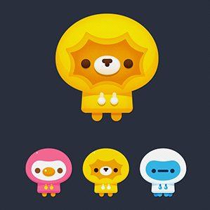 腾讯王卡的宇宙天团由王冠发型的小狮子—KO狮(KOTO)/美少女小鸡—嘀咕叽(DIGOJI)