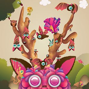 I love nature, small creatures. this illustration is mysterious mushroom forest.